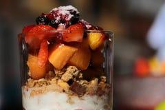 Chopped fruit salad with yogurt Royalty Free Stock Photography
