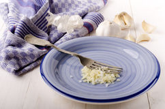Chopped garlic and coarse salt on a plate Royalty Free Stock Photography
