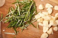Chopped garlic and rosemary Royalty Free Stock Photo