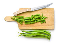 Chopped green beans. On white background royalty free stock photos