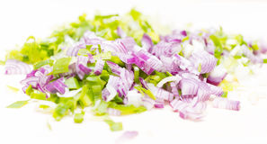 Chopped green and red onion. Mixed scallion and shallot finely chopped Royalty Free Stock Images