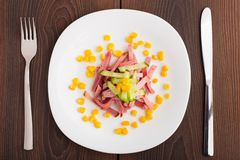 Chopped ham on white plate Stock Photography