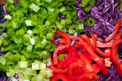 Chopped ingridients of salad. Chopped ingredients of salad. Green onions, sweet pepper, red cabbage Royalty Free Stock Photos