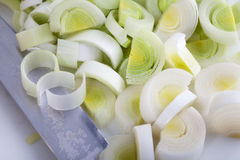Chopped Leeks Stock Photography