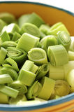Chopped leeks Stock Photo
