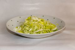 Chopped leeks on a plate. 