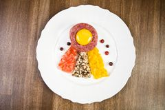 Chopped meat with egg and vegetables Royalty Free Stock Photos