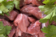 Chopped meat and parsley. Studio shot and close up (macro) lens Stock Photos