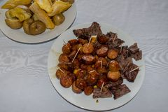 Chopped meat and chorizo royalty free stock images