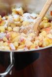 Chopped nectarines with sugar - making jam Royalty Free Stock Images