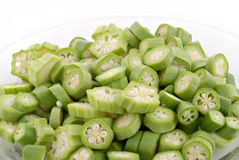 Chopped Okra Stock Photo