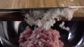 Chopped onion stock video
