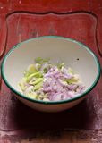 Chopped onion and leeks Stock Images