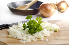 Chopped onion is ready to fry Royalty Free Stock Photos