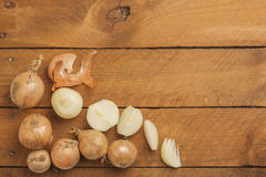 Chopped onions on wood Royalty Free Stock Photography