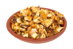Chopped orange peel rind in small bowl royalty free stock photos