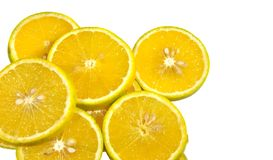 Chopped orange pieces Royalty Free Stock Image