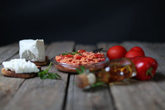 Chopped paprika. Red chopped paprika with tomatoes and cheese Stock Photo