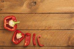 Chopped paprika on wood Stock Image