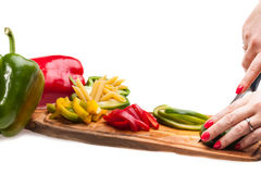 Chopped Peppers Stock Photo