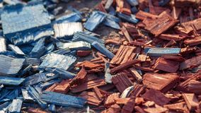 Chopped pieces of colored wood for soil decoration