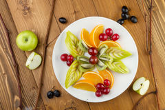 Chopped pieces of fruit on a white plate Royalty Free Stock Photos