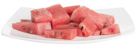 Chopped pieces of watermelon in a white dish Royalty Free Stock Images