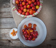 Chopped plum slices in a bowl for cooking jam Stock Photography