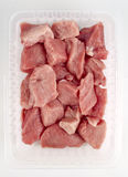 Chopped pork meat. In a plastic tray ready to sell stock image