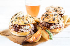 Chopped pork meat burger Royalty Free Stock Photography