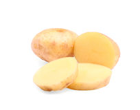 Chopped potatoes isolated on a white background. Organic potatoes sliced in pieces. Nutritious starch. Delicious ingredients. Royalty Free Stock Images