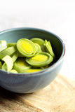 Chopped raw leek in a blue bowl. Chopped raw leek in a blue bowl on wooden plate Royalty Free Stock Image
