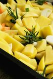 Chopped potatoes ready for cooking royalty free stock photos