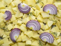 Chopped raw potatoes with red onion slices and rosemary leaves. Chopped raw potatoes in small pieces with red onion slices and rosemary leaves on top ready to be stock photo