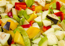 Chopped raw vegetables. Chopped fresh vegetables macro image royalty free stock photography