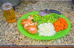 Chopped Raw Vegetables or a Mirepoix Stock Photo