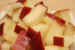 Chopped red apple. Shot of chopped apple upclose royalty free stock photography