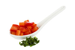 Chopped red Bell Pepper in white spoon and parsley Royalty Free Stock Images