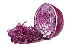 Chopped red cabbage close up  on white Royalty Free Stock Image