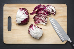 Chopped red cabbage on a cutting board. Royalty Free Stock Images