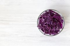 Free Chopped Red Cabbage In A Bowl, Close-up. Top View, From Above, Overhead. Royalty Free Stock Image - 124998326