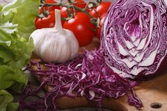 Chopped red cabbage, lettuce, tomatoes and garlic Royalty Free Stock Photography