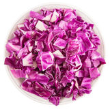 Chopped Red Cabbage In White Bowl I Stock Image
