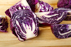 Chopped red cabbage  on wooden Royalty Free Stock Photos