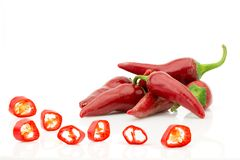 Chopped red chilli pepper or chilli cayenne pepper close up Stock Photo