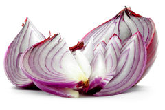 Chopped red onion purple cut slices isolated on white background Royalty Free Stock Photo