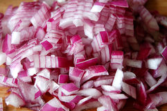 Chopped red onions Stock Images