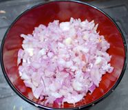 Chopped red onions. Closeup at home Royalty Free Stock Images