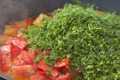 Chopped Ripe Tomatoes With Greens Stock Images