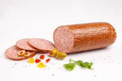 Chopped salami with vegetables Royalty Free Stock Photography